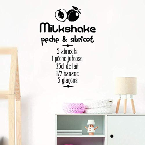 l Wall Stickers Act Mural Decal Art Home Decor Cooking Recipe Milkshake Peach & Apricot for Kitchen ()
