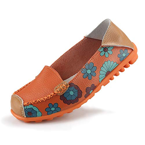 Ablanczoom Womens Comfortable Leather Floral Print Flats Casual Slip on Driving Loafers Breathable Walking Shoes for Women Orange]()