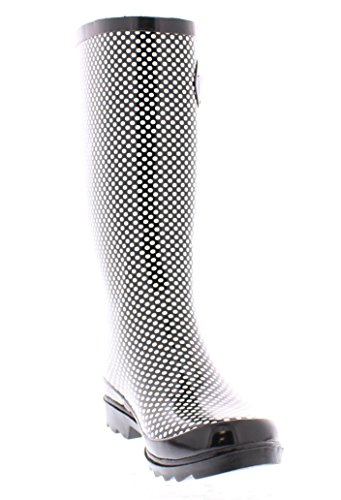 Marilyn Monroe Scarpe Basculanti Da Donna Con Fibbia Alta, Impermeabile Jelly Pull On Midcalf Stivali Welly Nero / Bianco