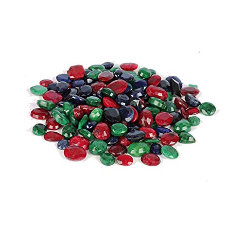 Natural Loose Ruby Emerald Sapphire Approx 100 Ct - Lot of 7 PCS Facveted Ruby Emerald Sapphire Loose Gemstones for Jewelry