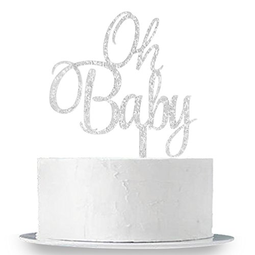 INNORU Silver Oh Baby Cake Topper Boy and Girl Baby Shower Party Supplies Decor