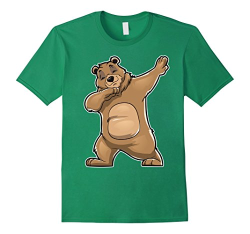 Mens Bear Dabbing T Shirt Bears Dab Dance Gifts Men Women Kids 2XL Kelly Green