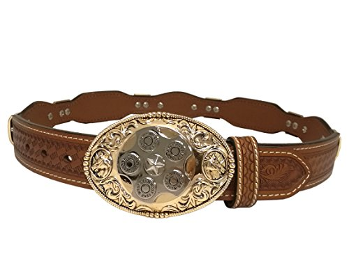 (West Star Revolver Design Buckle Belt Genuine Soft Leather Western Belt Buckle Rotate)