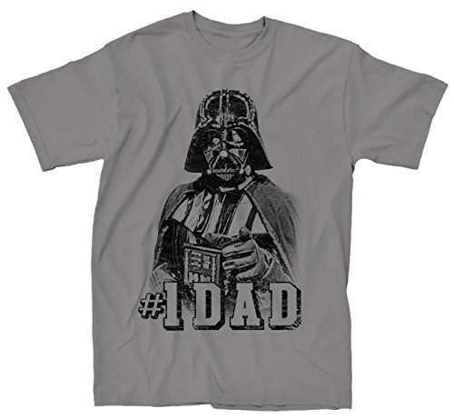 MightyFine Star Wars Darth Vader #1 Dad Father Classic Pose Men's Adult Graphic Tee T-Shirt (X-Large, Grey)