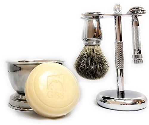Product Name: 5-Piece Chrome Shaving Set- Merkur #178 Safety Razor, Brush, Razor/Brush Stand, Soap Bowl & Shave Soap by GBS