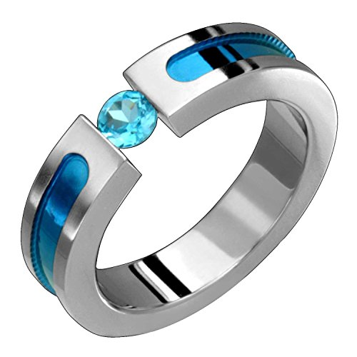 Alain Raphael Titanium Ring With Blue Topaz Tension Set 5 Millimeters Wide Wedding Band