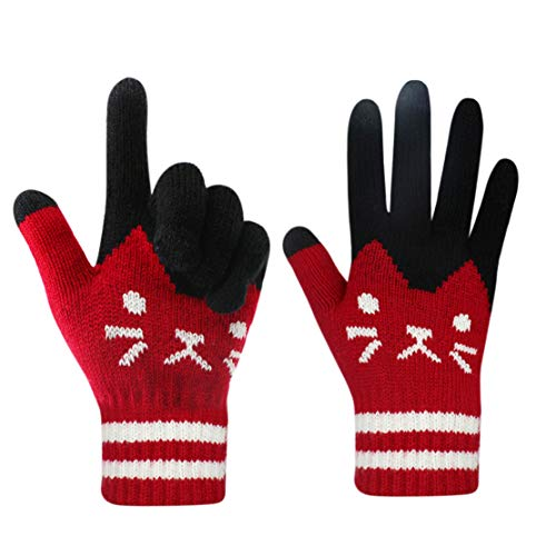 Gloves US Touch Screen Warm Winter Knitted Gloves Unisex Soft Thick Wool Windproof Cold Proof Thermal Mittens