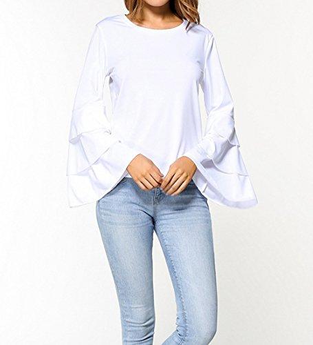 Primavera Tinta Autunno Jumpers a Cime Maglioni Bluse Moda Casual e Camicie Collo Elegante Bianca Rotondo Unita Donne Maniche Felpe Maglietta Campana Tops Tunica wrHH6qn58p