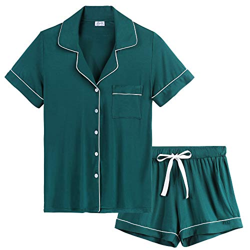 Joyaria Womens Soft Bamboo Pajama Sets Button Down Short Sleeve Pj Sleepwear (Green,Large)]()
