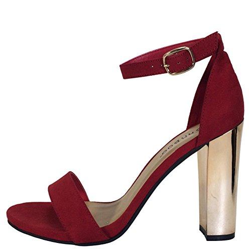 Sandalo In Chunky Sandalo Con Fascia Singola In Bambù Con Cinturino Alla Caviglia In Finta Pelle Scamosciata Rossa