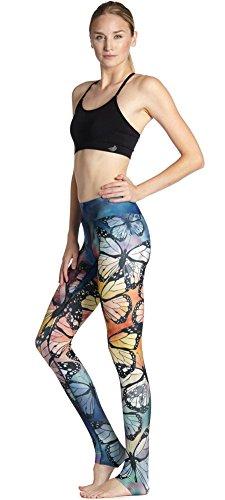 ZHLONG Transpirables y de secado rápido delgado cadera y coloridos mariposa movimiento yoga pantalones de las señoras yoga-0017