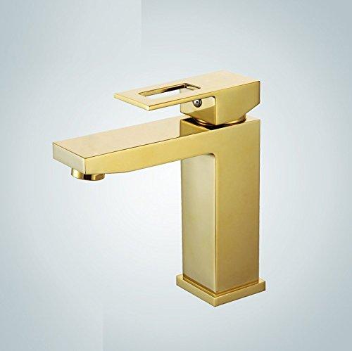 Aawang Waschtischarmatur Wasserhahn Spültisch Waschtisch Waschenbecken Bad Einfach Alle Kupfer Square Hotel Hahn, Golden