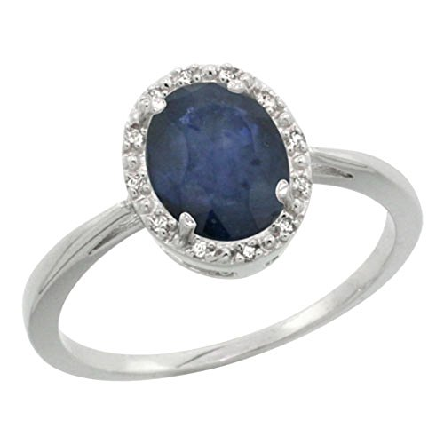 (Sterling Silver Natural Blue Sapphire Diamond Halo Ring Oval 8X6mm, 1/2 inch wide, size 10)