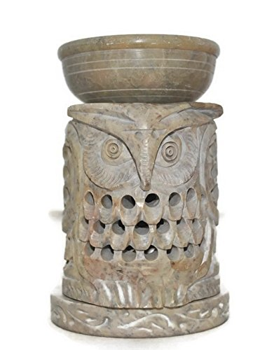 (Artistic India --OWL Shape Essential Oil Diffuser(Random Color) with Tea Light Holder for Aromatherapy - Artisan Hand Carved Soapstone 4