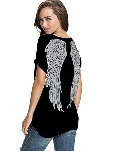 FV RELAY Womens Summer Fashion Angel Wing Loose Tops Short Sleeve T-Shirt Tee (S, Black(Angel))