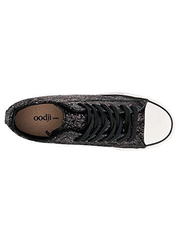 oodji Ultra Mujer Zapatillas de Cuña con Punta de Goma y Pedrería Negro (2910X)