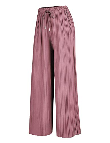 Made By Johnny WB1484 Womens Pleated Wide Leg Palazzo Pants with Drawstring OneSize Mauve