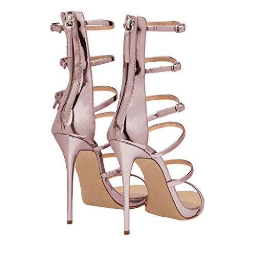 Fsj Vrouwen Sexy Strappy Gladiator Sandalen Bruiloft Hoge Hak Stiletto Schoenen Voor Zomer Maat 4-15 Ons Roze Goud