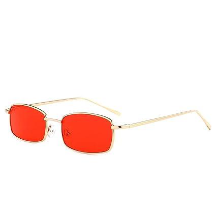 Providethebest Unisex Plazoleta Gafas de Sol de Metal Rectangular Hombres Mujeres Eyewear UV400 de Ocio al Aire Libre Gafas de Sol