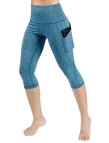ODODOS High Waist Out Pocket Yoga Capris Pants Tummy Control Workout Running 4 Way Stretch Yoga Leggings,SpaceDyeBlue,X-Small