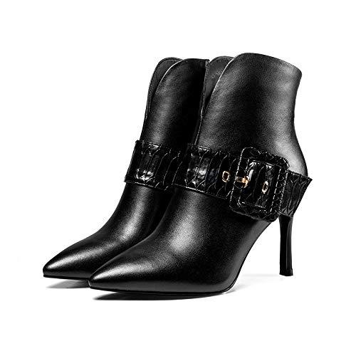 Chaussures Pointu pour d'automne étaient Chaussures Mode Courtes Cuir Hiver Stiletto en Minces Et YXLONG Femmes De Bottes Nouvelles des Black Femmes Dames Automne pcxYZq