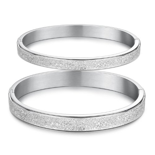 3Aries Fashion Vintage Dull Polish Silver Sparkle Titanium Stainless Steel Women Bangle Promise Bracelets ()