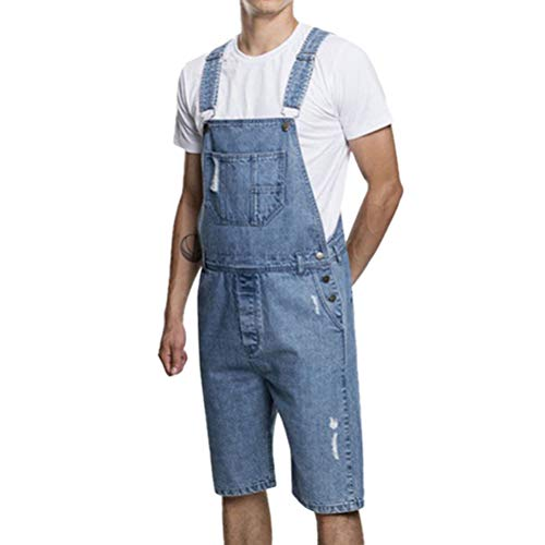 everydaysell900 Men's Casual Summer Denim Short Bib Overalls Pants Knee Length Hole Ripped Jumpsuits (XXL) (Knee Length Bib)