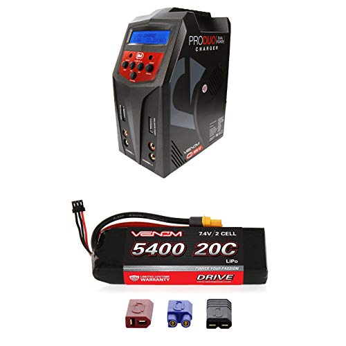 Venom 20C 2S 5400mAh 7.4 LiPo Battery with Universal Plug and Venom Pro Duo 80W X2 Dual AC/DC 7A LiPo & NiMH RC Battery Balance Charger Money Saving - Reedy Cell Single