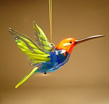 Red, Blue and Yellow Glass Bird Hanging Hummingbird Figurine Ornament