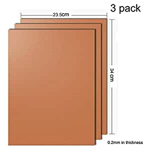 """Lemarle Copper Grill Mat Set of 3 Non stick 13.4"""" x 9.3"""" FDA Approved PFOA Free Reusable and Easy to Clean Works on Gas Charcoal Electric BBQ Mats"""