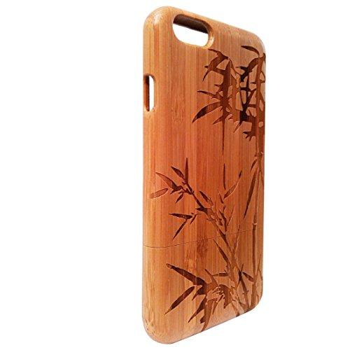 Handcrafted bambou 100% bambou 6 Iphone Case Carving Patterns Feuille, Case de bambou pour iPhone6 4,7 pouces, iphone 6 cas, cas d'Iphone 6, peau de couverture de bambou conception dure Retour naturel
