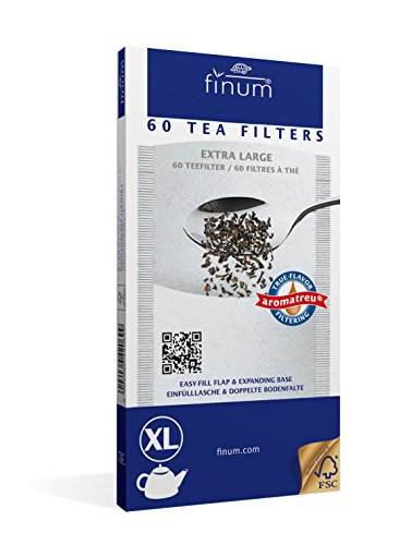 Finum Disposable Paper Tea Filter Bags for Loose Tea, White, Extra Large, 60 Count by Finum