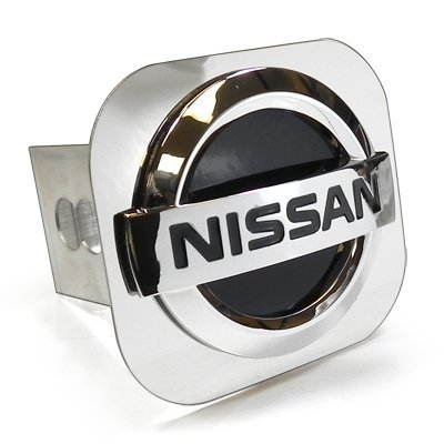 Nissan 3D Black Infill Chrome Logo Steel Tow Hitch Cover Plug, Official (Logo Tow Hitch Plug)