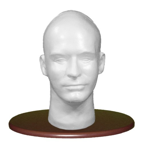 White Male Head, Styrofoam/with Tabletop Center Support M...