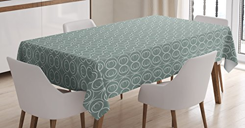 Ambesonne Retro Tablecloth, Medieval Authentic Style Curved Oval Floral Motifs, Dining Room Kitchen Rectangular Table Cover, 60 W X 84 L inches, Light Sage Green White