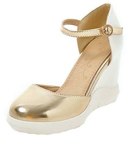 con tacco Pu Agoolar sandali colori alto oro rotondo Donna abito fibbia ftq5xXp5