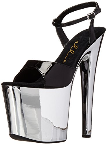 US Silber 821 M 6 Chrome Plateausandale Shoes Schwarz Ellie Damen zwpOff