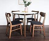 Edloe Finch Dakota Mid-Century Modern 5 Piece Round Dining Table Set for 4, White Top