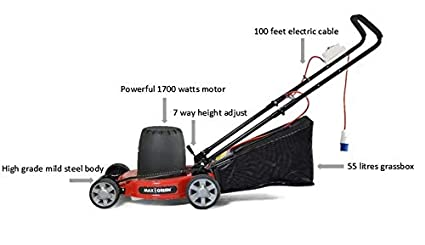 MAXGREEN 16 inches Blade/Metal Body/Electric Lawn Mower / 1700 watts (2800  RPM) / 100 feet Electric Cable / 52 litres Grass Box / 1 Year Warranty