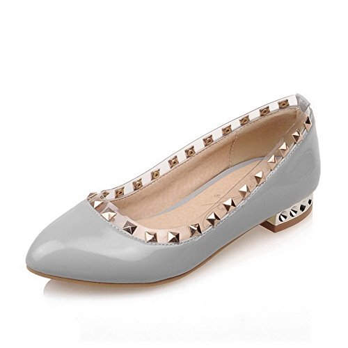 VogueZone009 Women's PU Low-Heels Closed Pointed Toe Solid Pull-On Pumps-Shoes Gray tHZvvqEGJn
