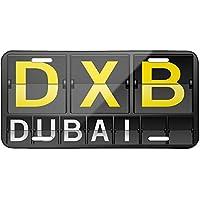Matrícula metálica con código del aeropuerto de Dubai