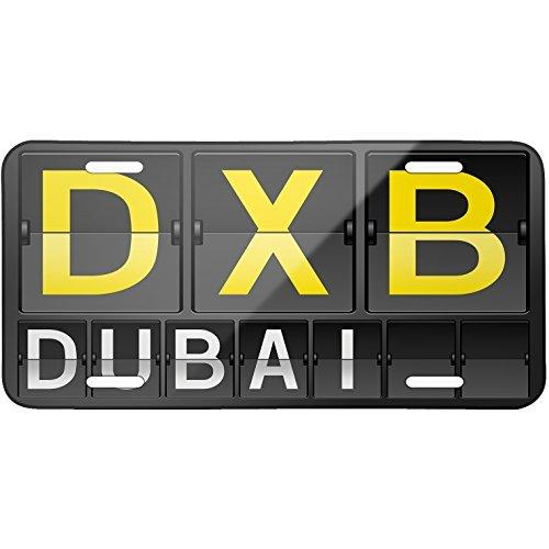 Matrí cula metá lica con có digo del aeropuerto de Dubai DXB, 15,2 x 30,5 cm bobbit