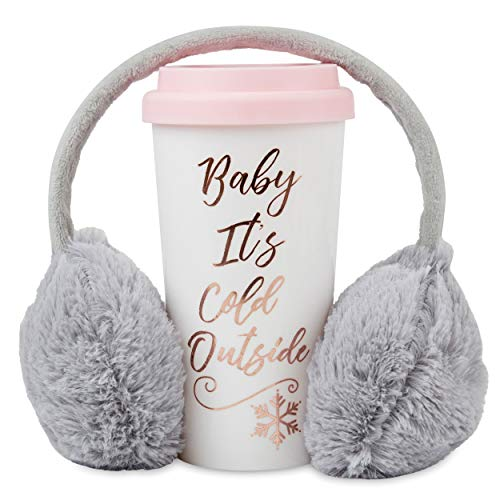 Cozy Winter Travel Mug and Earmuffs Set – Insulated Thermal Tumbler and Adjustable Grey Headband Ear Warmers – Mug Keeps Coffee and Hot Cocoa Warm – Decorative Holiday Gift Set Package