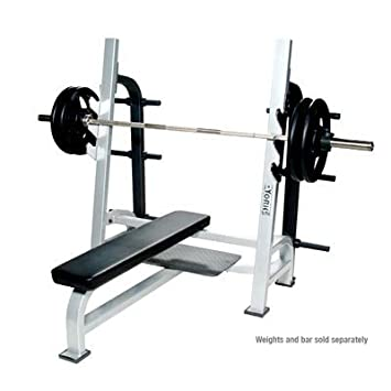 york barbell. york barbell st olympic flat bench w/gun racks - white l