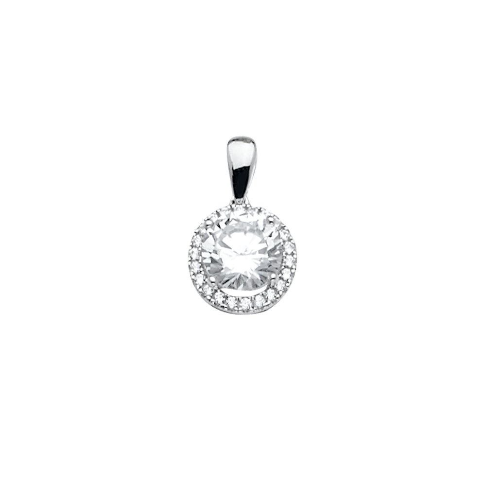 Wellingsale 14k White Gold CZ Cubic Zirconia Pendant Size : 14 x 9 mm
