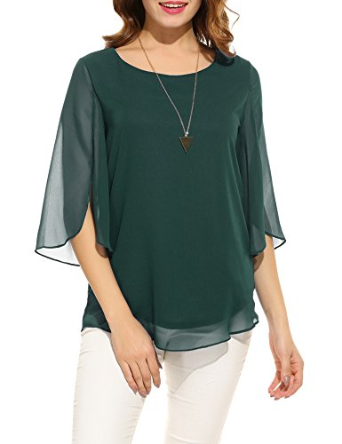 Ladies Fancy Collection - ACEVOG Women's Solid Color 3/4 Sleeve Blouse Tops (Green Black Jasper, XX-Large)
