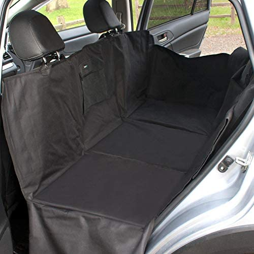 FrontPet Backseat Pet Bridge Hammock, Dog Car Seat Protector, Covers Entire Back Seat and Door Panels. Fits Cars, Trucks and SUVs, Car Seat Extender Platform Cover Barrier Divider and Restraint