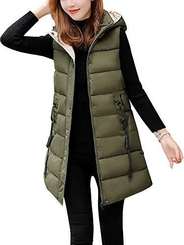 Sobrisah Women's Zipper Cotton Padded Stand Collar Casual Outwear Long Puffer Down Vest Jacket Army Green Tag XL-US S