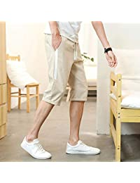 ZXHHL Male Korean Version of The Trend Summer Cropped Trousers Beach Pants