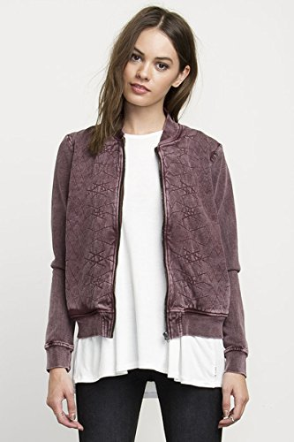 RVCA Women's Bloom Bomber Jacket, Wine, Small